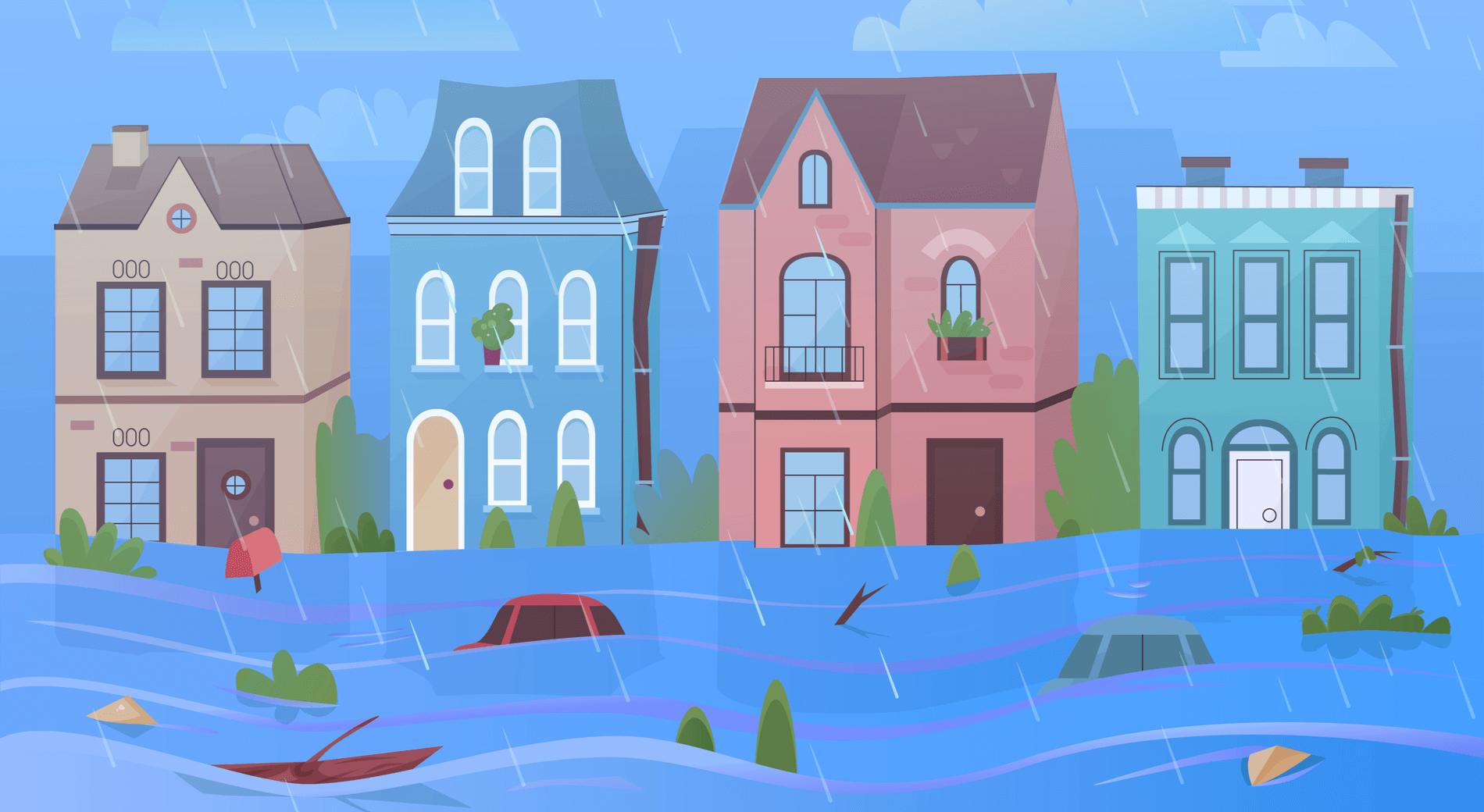 台風の街の景色